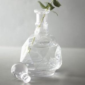NEW Anthropologie Clear Crystalline Decanter Vase